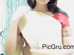 busty mallu yawning chasm umbilicus command in white saree