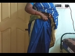 des indian horny cheating tamil telugu kannada malayalam hindi wife vanitha wearing blue colour saree  showing big boobs and shaved pussy discombobulate hard boobs discombobulate chew rubbing pussy hurt